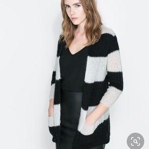 Zara Knit Wide Stripe Cardigan